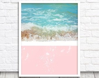 Wave Print, Ocean Wave Printable, Ocean Wall Art, Pink Wave Decor, Digital Print, Printable Wall Art, Instant Download, Pink Beach Print