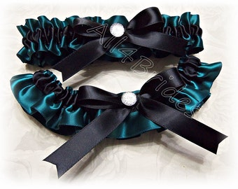 Wedding bridal leg garter belt set, black and teal garters set.