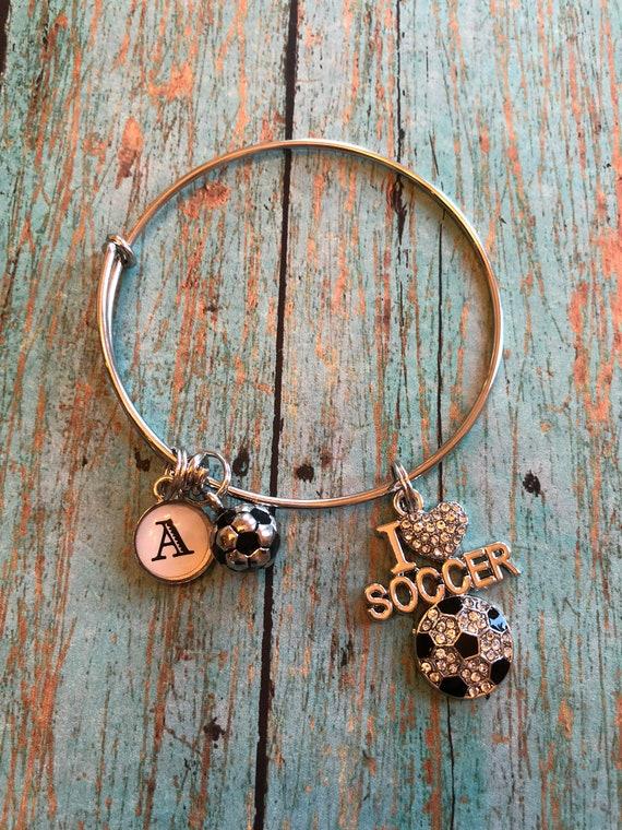I love soccer bangle bracelet