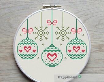 christmas cross stitch pattern, christmas baubles,  modern cross stitch, PDF, ** instant download**