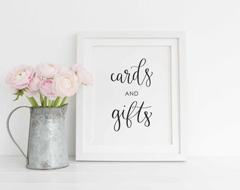 Cards and Gifts Printable, Cards and Gifts Wedding Sign, Cards and Gifts Calligraphy print, DIY Wedding Sign. Instant Download.