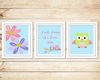 Twit Twoo Set of 3 Owl Nursery Prints