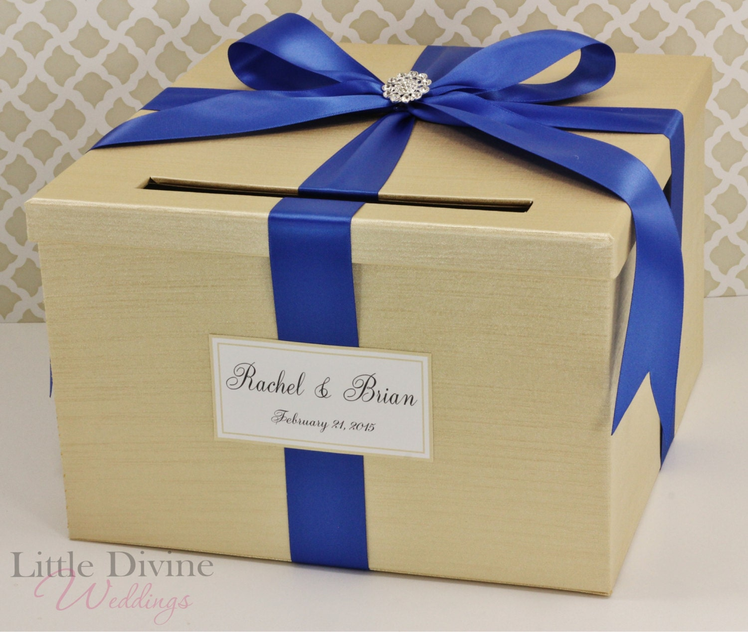 Wedding Card Box Champagne Gold And Royal Blue Money Holder