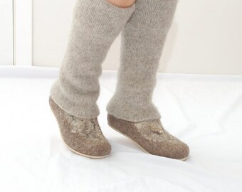 Beige Leg Warmers - Leg Covers - Knit Legwarmers - Long Leggings - Leg Warmers