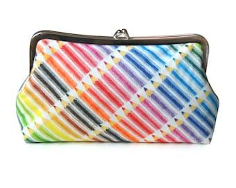 Colorful clutch purse, Back to school, Pencil purse, Artist gift, Teacher gift, Fabric purse, Metal frame purse, Rainbow purse, Handmade bag