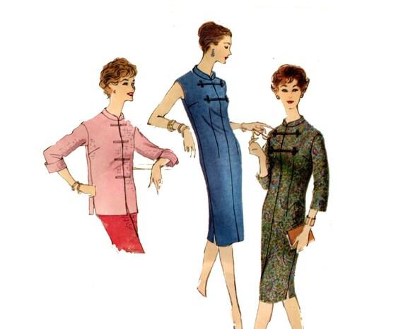 1950er-Kleid oder Tunika Muster versehen einfach Chemise