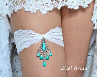 Lace Garter Set, Turquoise Garte, Bridal Garter Set, Something Blue, Rhinestone Garter, Blue Wedding Garter, Handmade Garter, Blue Garter