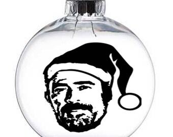 Negan Walking Dead Walker Zombie  Christmas Ornament Glass Disc Holiday Horror Merch Massacre