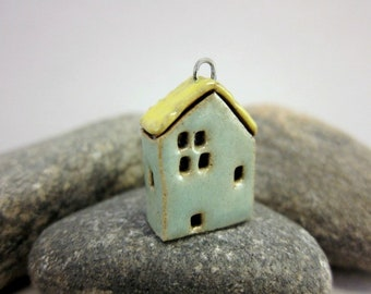 House Pendant in Stoneware...Turquoise Green & Yellow