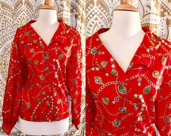 VTG 80s Red Scarf BAROQUE Gold Chains Top Shirt Blouse Long Sleeve XL