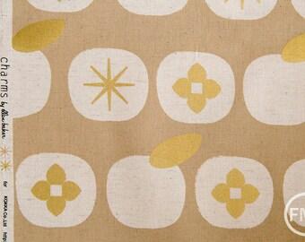 Charms Persimmons CANVAS in Gold Metallic, Ellen Baker for Kokka Fabrics, Cotton and Linen Canvas Fabric, JG-42200-200C