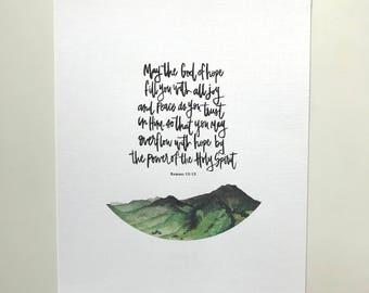 Romans 15:13 Hand Lettered & Watercolor Art Print