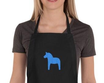 Dala Horse Blue Swedish Embroidered Apron