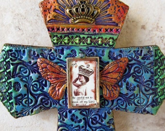 Wall cross - Home Decor- Religious Decor - Housewarming Gift - Inspirational - Queen - Butterfly - Whimsical Decor - Mosaic Cross