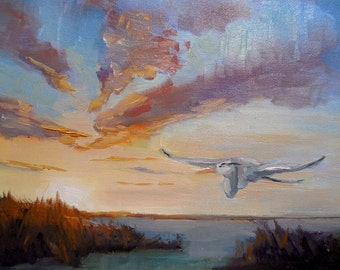 "Impressionist art, Sunset Painting, Small Oil Painting, Flying Heron Painting, 6x8"" Oil, Free Shipping in US"