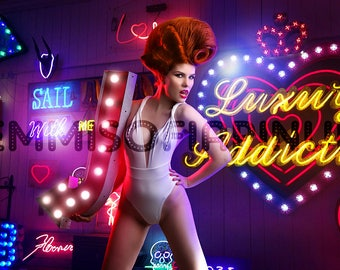 Neon Sign Jungle, Avant-Garde Pin Up - Print by Dollhouse