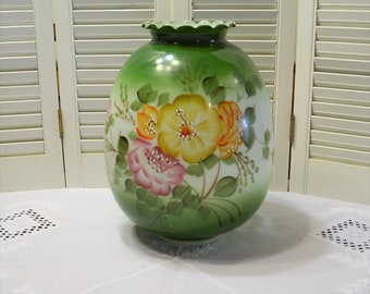 Vintage Hand Painted Glass Lamp Shade Green Floral Replacement Hurricane Lamp Glass Large Size PanchosPorch