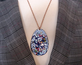 "Vintage Enameled Copper Pendant on 21"" Antique Copper Tone Chain, Estate Find"