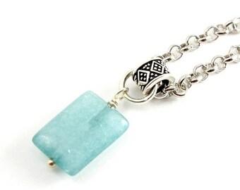 20%OFF SALE Aqua Amazonite Necklace, Blue Green Stone Necklace, Silver and Amanzonite Necklace, Natural Stone Necklace