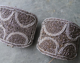 Antique French Shoeclips - Silver & Gunmetal Beaded Shoeclips
