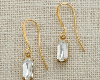 Gold French Hook Earrings Emerald Cut Stone Diamond Crystal Clear Rhinestone Wedding Earrings Bridesmaid Gift Handcrafted 10mm 6H