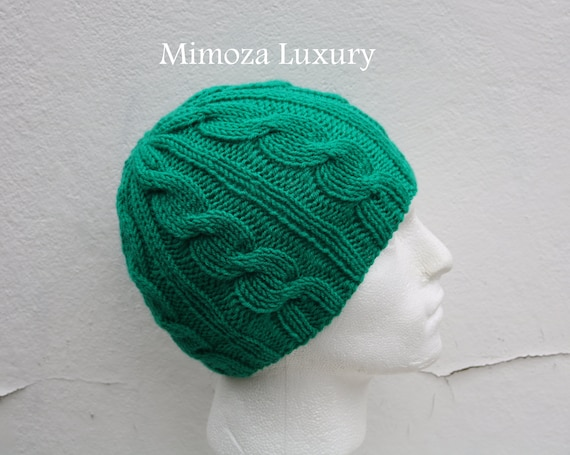 Emerald Green Men's Beanie hat, Hand Knitted Hat in jade green beanie hat, knitted men's, women's beanie hat, winter beanie, green ski hat