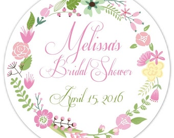 60 Wedding Shower Stickers, Floral Bridal Shower Labels, Stickers, 2.5 inch round, Wedding Shower Favor, Bridal Shower Favor, Flower Sticker