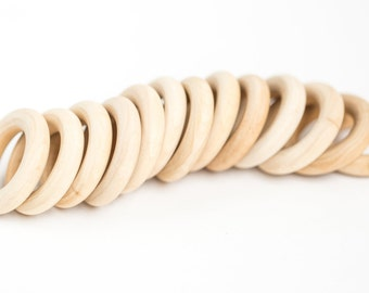 30 Baby Teething Wood Rings, Round - 1 3/4 inch Unfinished Wooden Rings for DIY| Box 26