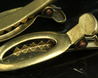 10 pcs raw brass alligator clip 39 mm with teeth 985R