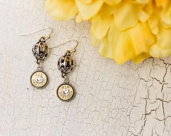 Bullet Casing Jewelry - Filigree Ball Bullet Earrings (9mm) (Nickel Free)