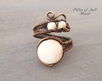 Boho ring - Wire Wrapped Ring - earthy jewelry - copper ring - White magnesite wire wrapped jewelry handmade - wire jewelry adjustable ring