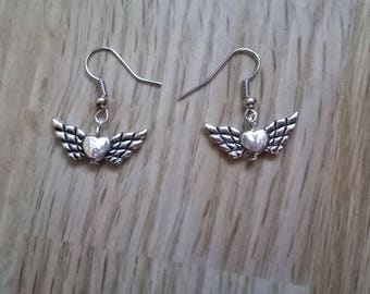 HEART WING EARRINGS