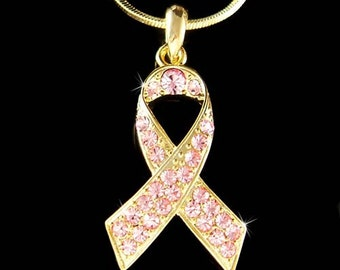 Gold Plated Swarovski Crystal Breast Cancer Awareness Pink Ribbon Pendant Charm Necklace