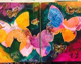 "11"" x 14"" Paintings - Butterflies in the Garden"