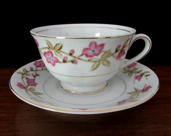Valmont China Briar Rose Teacup and Saucer Set From Japan
