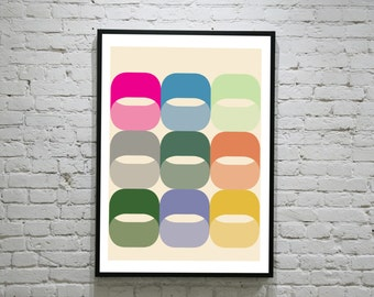 Vintage Inspired Op Art Print in the style 0f mid century modern art prints and Orla Kiely