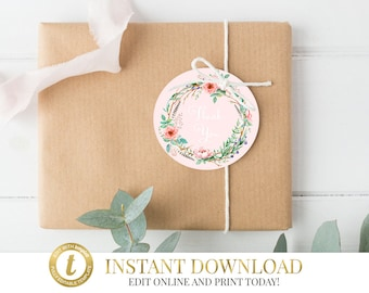 Floral Favor Tags, Floral Wreath Favor Tags, INSTANT DOWNLOAD, Thank you tags, Birthday, Bridal Shower, Baby Shower, Christening Tags