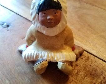 "C. Alan Johnson Eskimo Figurine ""Joey"" 1962 Native American, C Alan Johnson, Native American art, Alaskan Art, Eskimo Art, Inuit Art"
