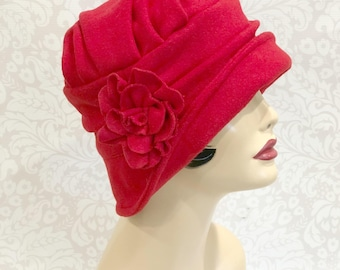 Red Wool Cloche - 1920s Cloche - Downton Abbey Cloche - Fashion Hat - Ladies Cloche Hats - Art Deco hat - Winter Hats - Handmade in the USA