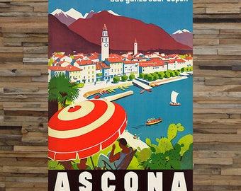 Ascona Beach Coatal Travel Ad, Vintage Art, Tourism Art, Giclee Art Print, fine Art Reproduction