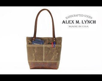 Everyday PETITE tote bag No. R201petite - heavy weight canvas bag and genuine leather handles