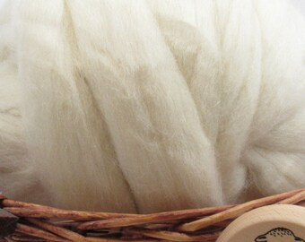 White Jacob Wool Top Roving - Undyed Spinning & Felting Fiber / 1oz