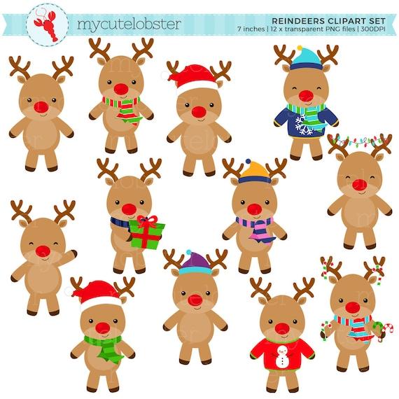 Reindeers Clipart Set clip art set of reindeers christmas