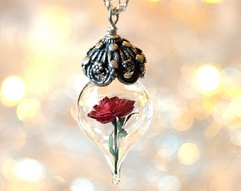 Classic Red Rose Flower Terrarium Glass Vial Necklace - Beauty and the Beast - by Woodland Belle