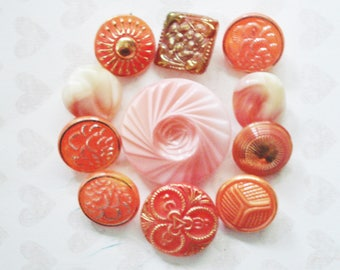 Coral and Gold Czech Buttons - Vintage Glass Floral Button - 11 Assorted Coral Buttons - Coral Swirl Button - Chunky Creamy Coral Buttons
