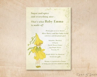 Printable Baby Shower Invitation - 4.25x5.5, 4x6, 5x7 - Crocus Fairy - Yellow Lime Cream Tan - Storybook Vintage Flower Fairy Tale Garden
