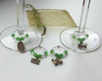 4 Handcrafted Wine Glass Charms