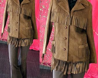 70s Suede Fringe Jacket Hippie Biker Leather Fringe Jacket
