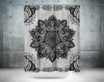 Gray Shower Curtain,Mandala Bathroom Curtain,BohoChic,Bohemian Shower Curtain,Shower Curtain,Boho Shower Curtains,Sacred Mandala,Lotus
