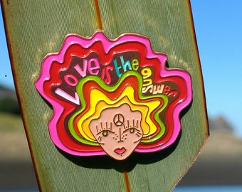 Message to Love   enamel pin hippie witch club